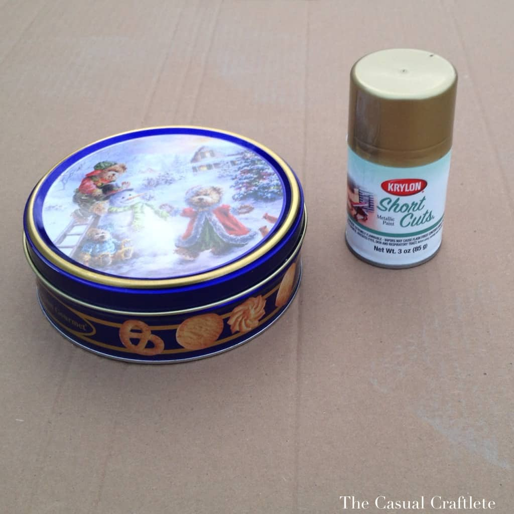 Gold Spray Painted Cookie Tin