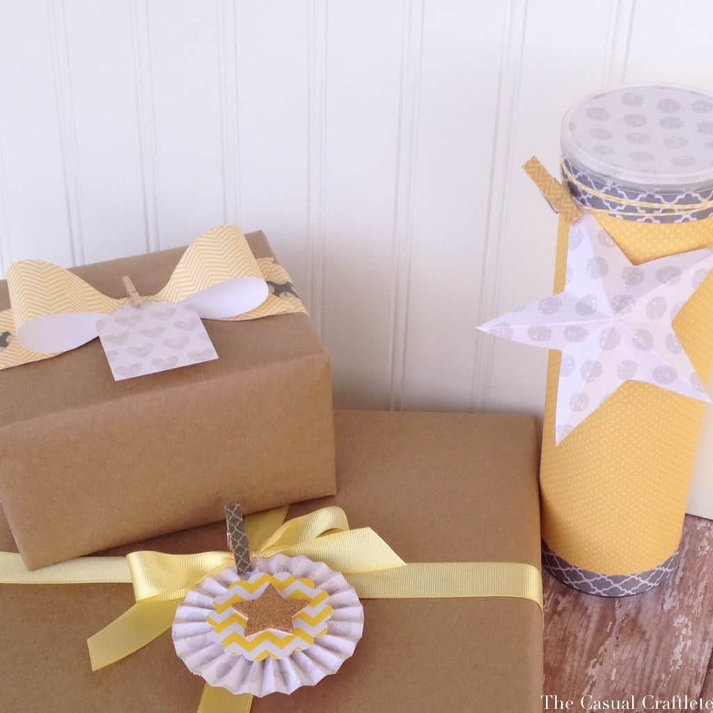Yellow and Grey Gift Wrapping Ideas