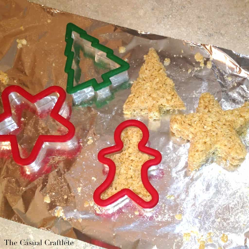 Using Christmas cookie cutters for Rice Krispies treat