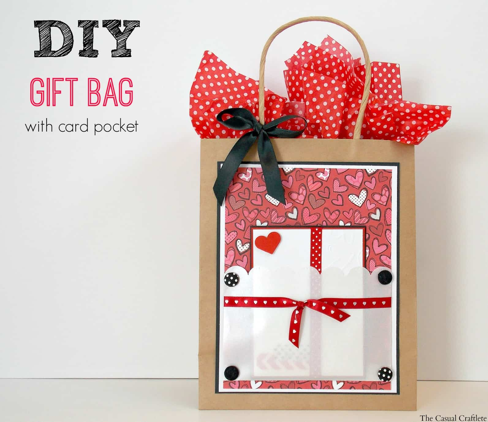 Diy gift bag with card pocket plus free printable