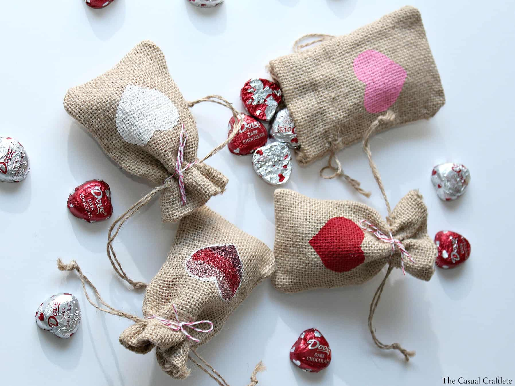 diy valentines day burlap gift bags