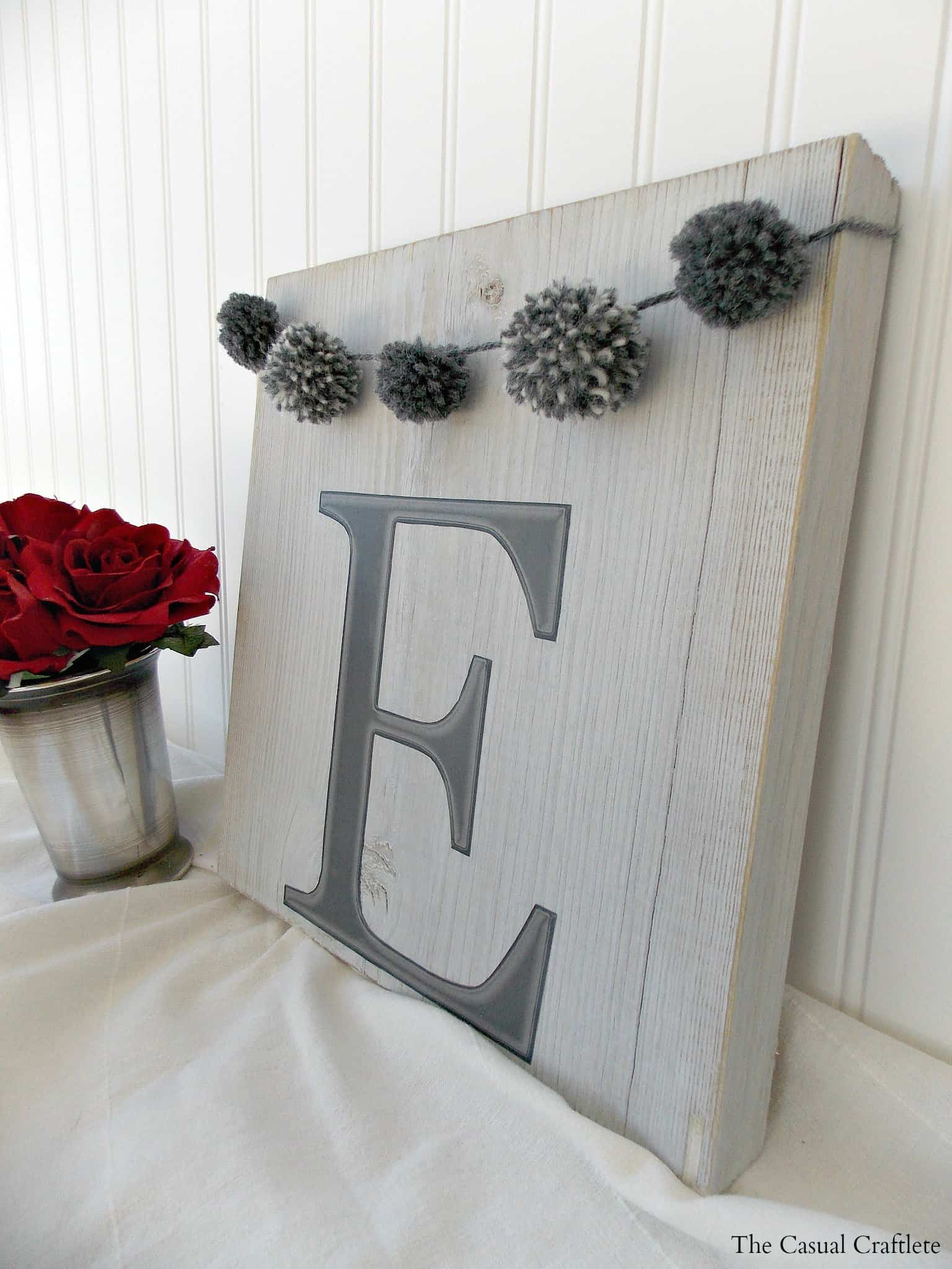 DIY Monogram Wood Plaque with pom pom garland 2