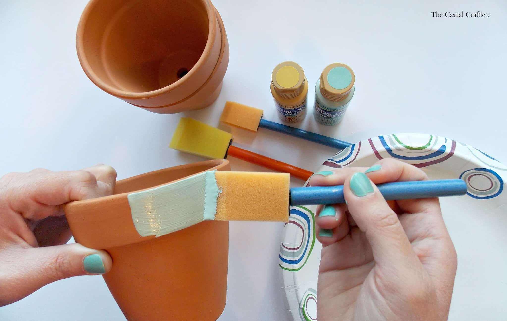 Mint & Mustard Painted Terra Cotta Pots