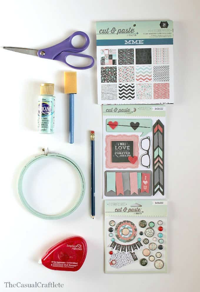 Materials to make a paper embroidery hoop gift card holder
