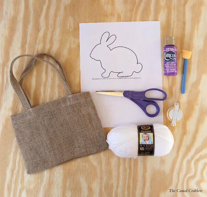Material to make a burlap bunny bag