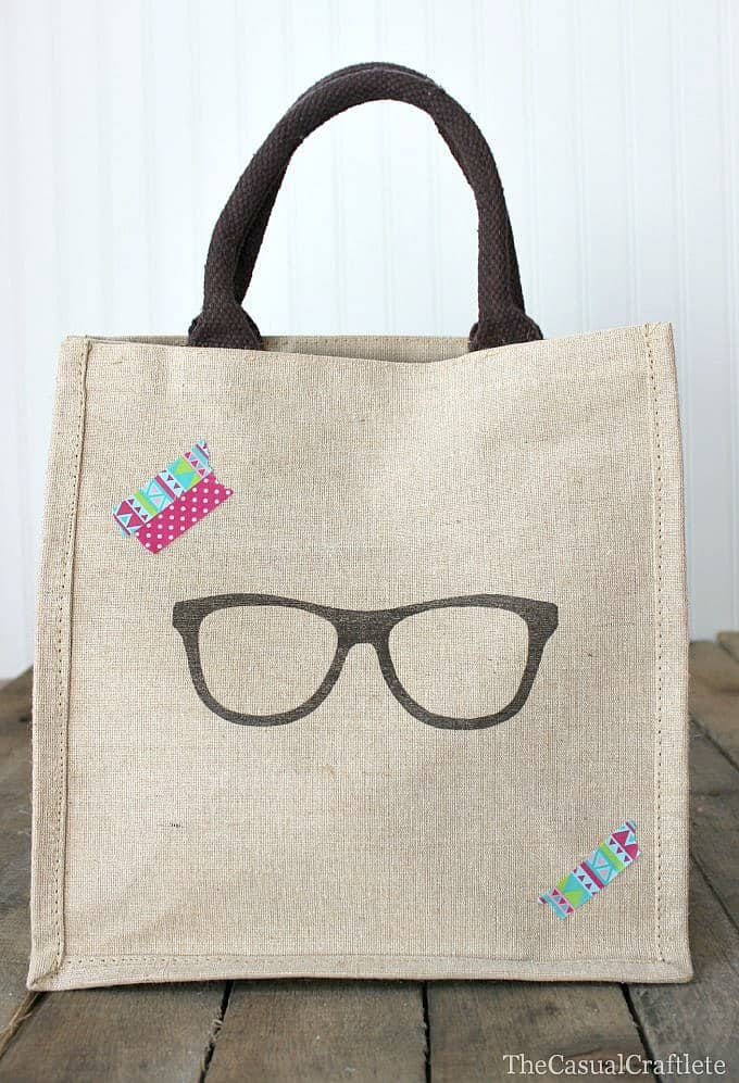 Burlap Bag with washi tape