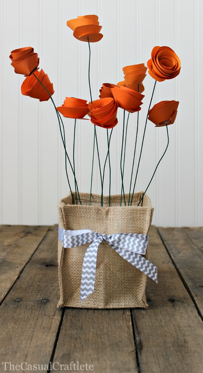How to make a pretty paper flower centerpiece burlap vase holder with paper flowers mightylinksfo