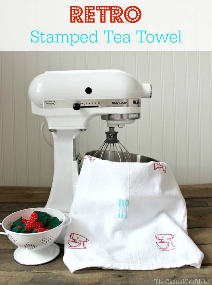 Retro Stamped Tea Towel  The Casual Craftlete
