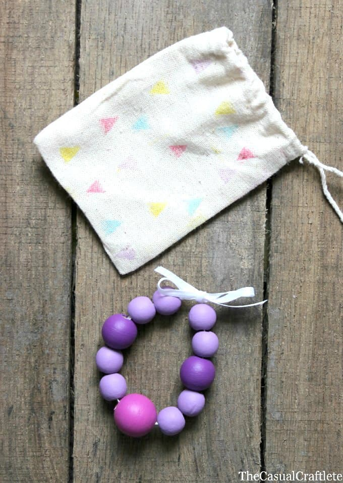 Wooden Bead Bracelet with bag