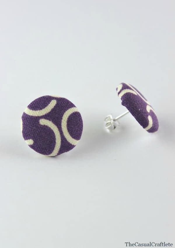 Easy DIY Fabric Button Earrings www.thecasualcraftlete.com for www.thecraftingchicks.com