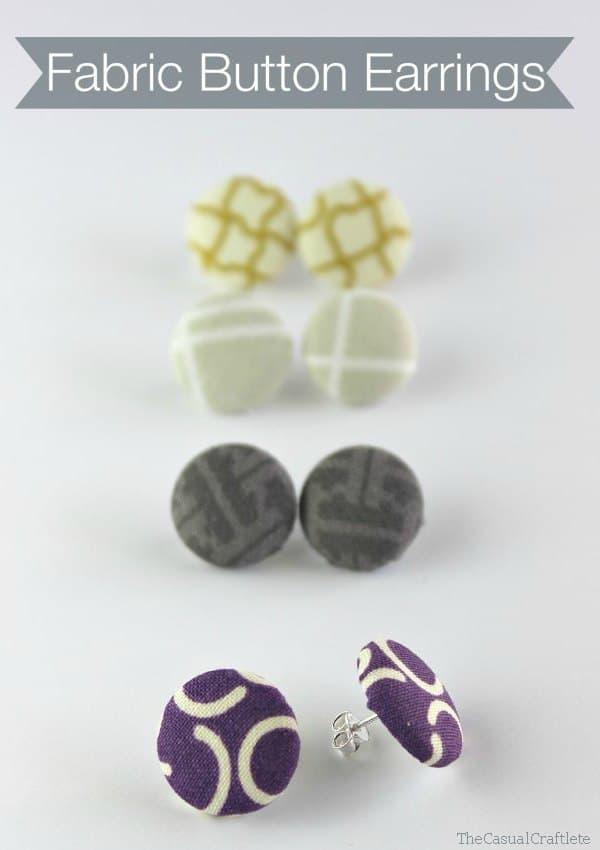 DIY Fabric Button Earrings