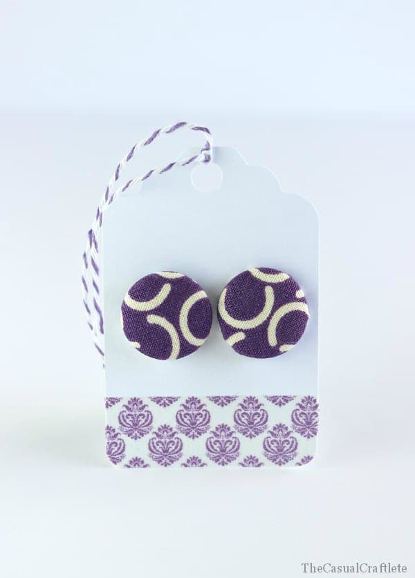 Fabric Button Earrings make great gifts www.thecasualcraftlete.com for www.thecraftingchicks.com