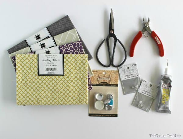 Materials used to make fabric button earrings The Casual Craftlete for The Crafting Chicks