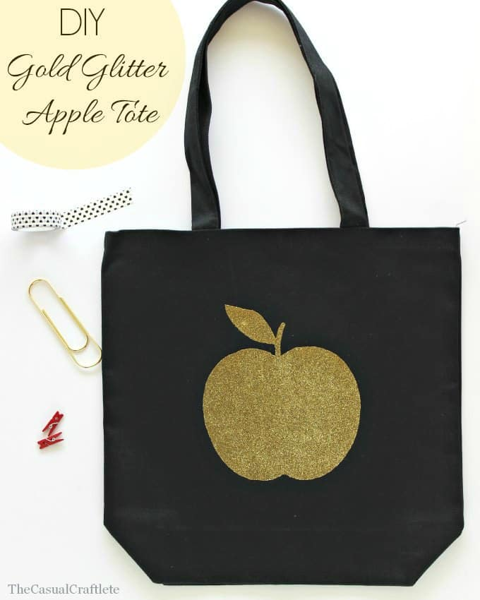 DIY Gold Glitter Apple Tote by www.thecasualcraftlete.com