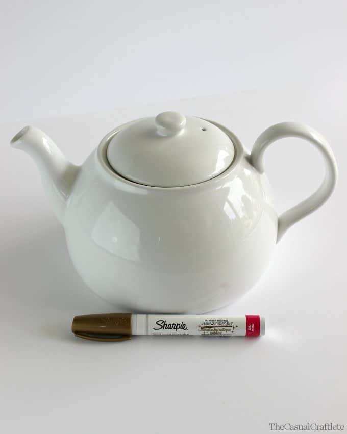 DIY Gold Sharpie Teapot www.thecasualcraftlete.com