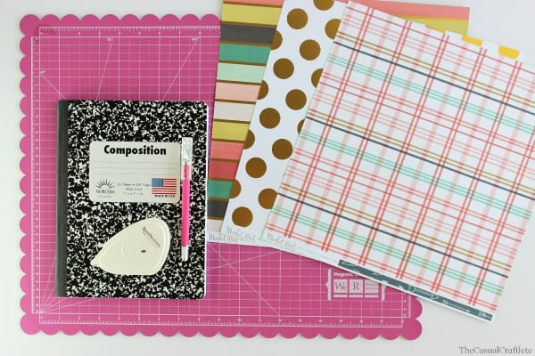 Materials for making a DIY Scrapbook Paper Notebook by www.thecasualcraftlete.com for thecraftingchicks.com