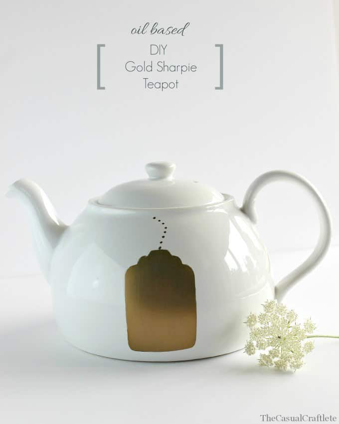 Oil Based DIY Gold Sharpie Teapot by www.thecasualcraftlete.com