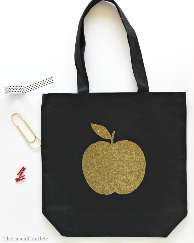 Gold Glitter Apple Tote by www.thecasualcraftlete.com