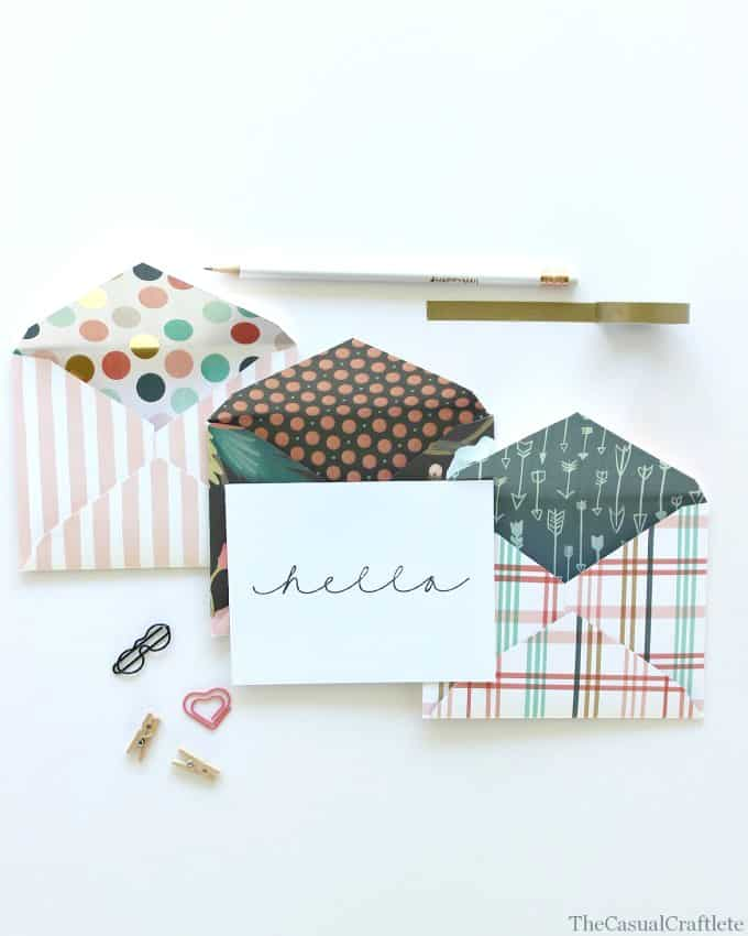 How to make envelopes from scrapbook paper + free printable hello card by www.thecasualcraftlete.com