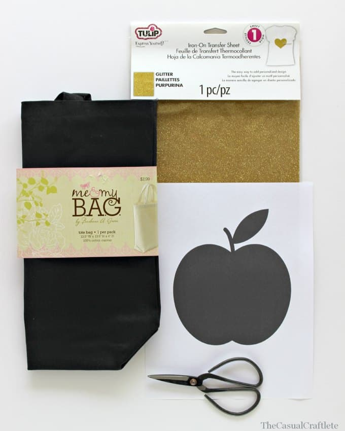 Materials for Glitter Gold Apple Tote Bag by www.thecasualcraftlete.com