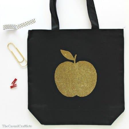 DIY Gold Glitter Apple Tote