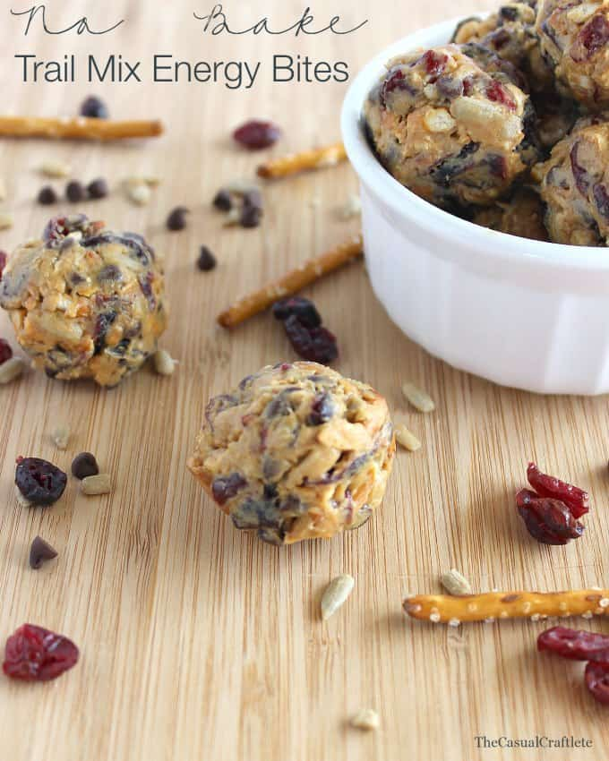 No Bake Trail Mix Energy Bites from www.thecasualcraftlete.com