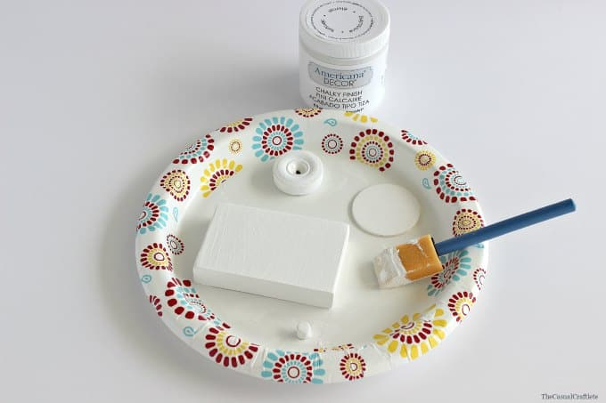 Use chalky finish paint on wood to make a toy camera by www.thecasualcraftlete.com