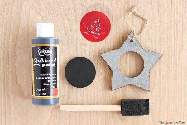 Add chalkboard paint to a rustic ornament for a modern look