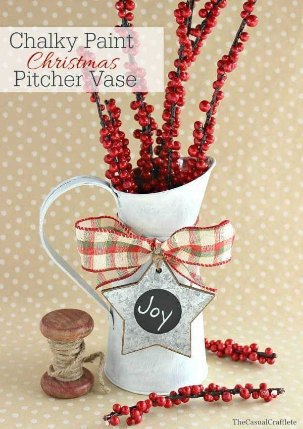 Chalky Paint Christmas Pitcher Vase