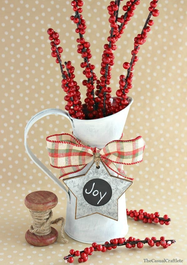 Chalky Paint Christmas Vase Decor