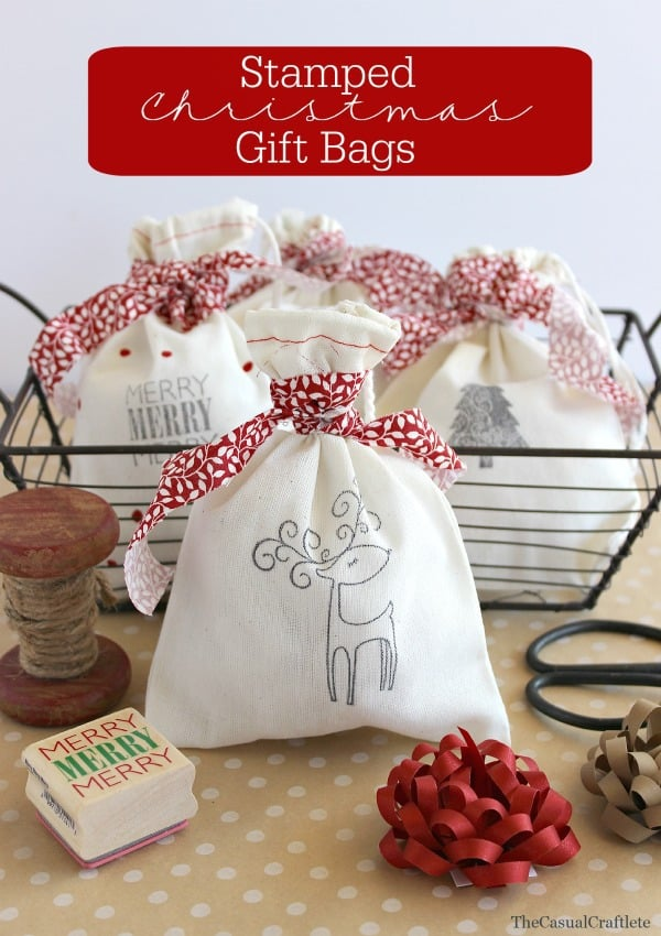 stamped christmas gift bags the casual craftlete
