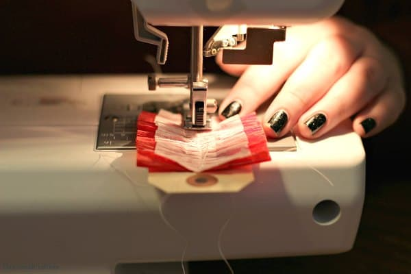 Sewing Crepe Paper Tags