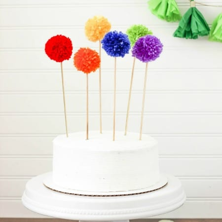 Rainbow Pom Pom Cake Topper