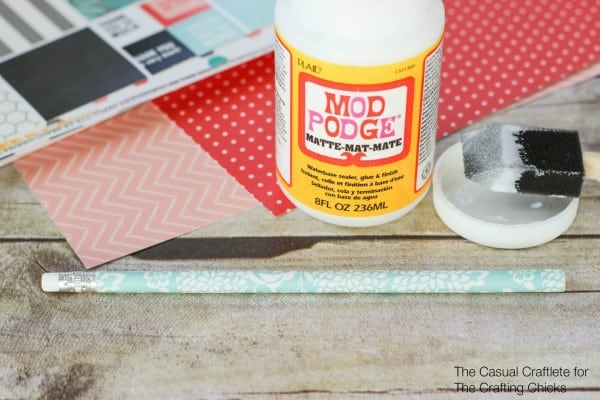 Easy to make scrapbook paper covered pencils