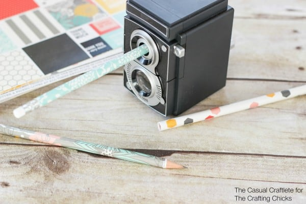 Scrapbook Paper Covered Pencils DIY