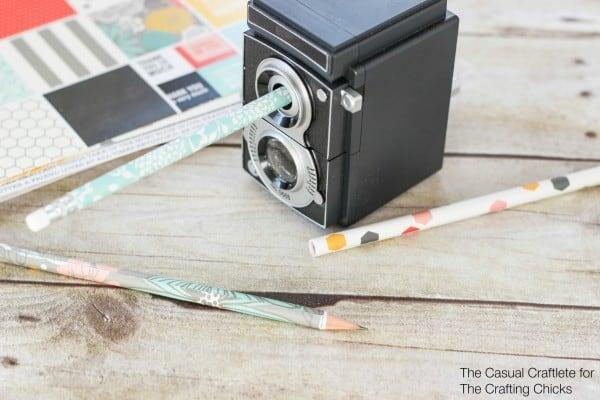 Scrapbook Paper Covered Pencils DIY