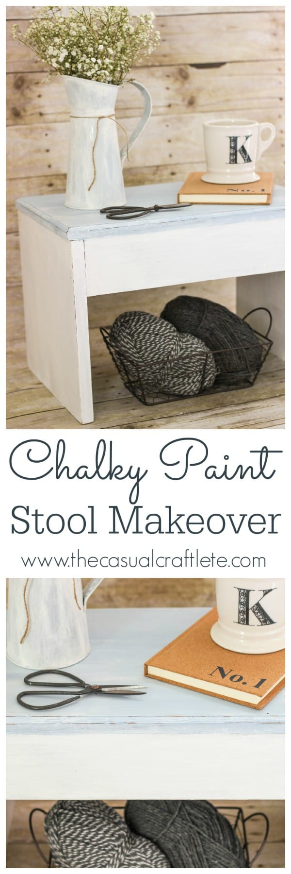 Chalky Paint Stool Makeover using DecoArt Americana Chalky Finish Paints