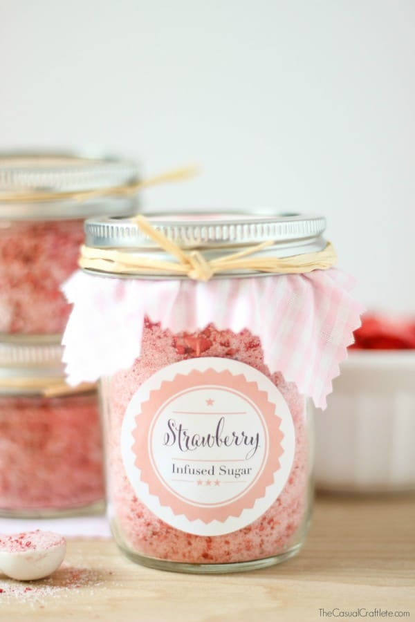 Strawberry Insfused Sugar + Printables from thecasualcraftlete.com