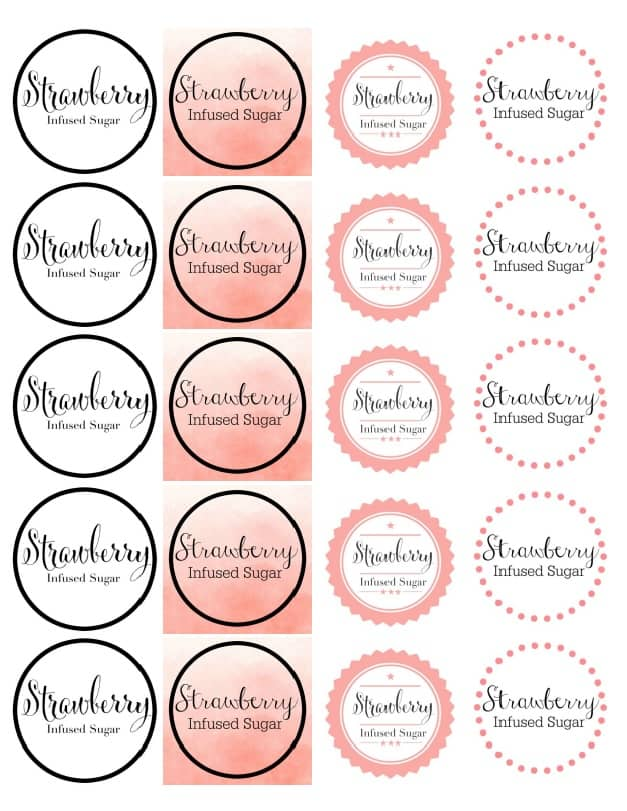 Strawberry Sugar Sticker Template 2 Inch