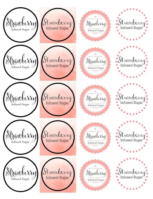 Strawberry Sugar Sticker Template 2 Inch