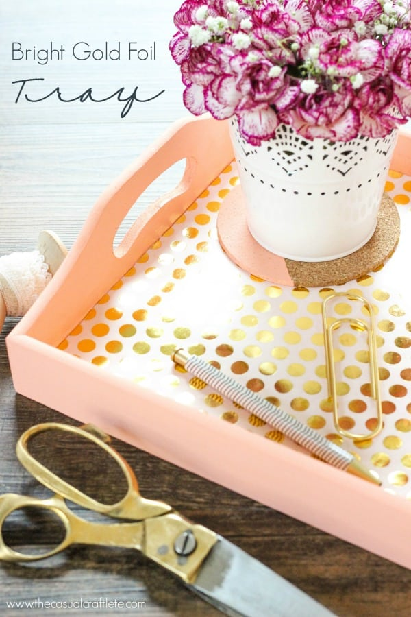 Bright Gold Foil Tray using DecoArt Chalky Finish Paint and Decou-Page Paper