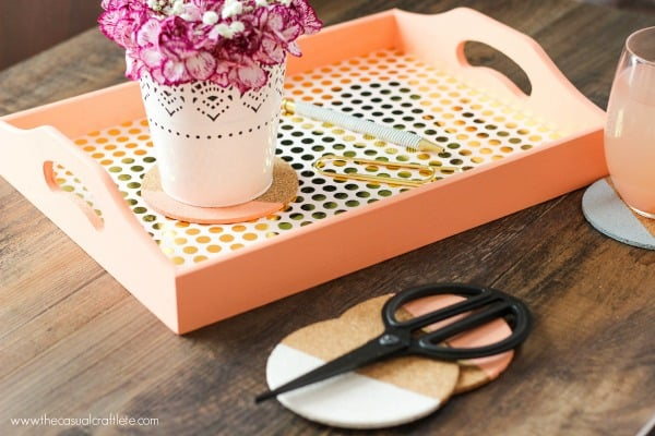 DIY Color Blocking Coaster using Chalky Finish Paint