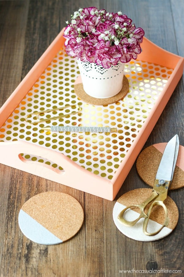 DIY Wood Serving Tray with coloring blocking coasters