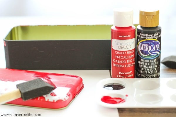 Paint a metal tin for a custom look using DecoArt Americana Paints