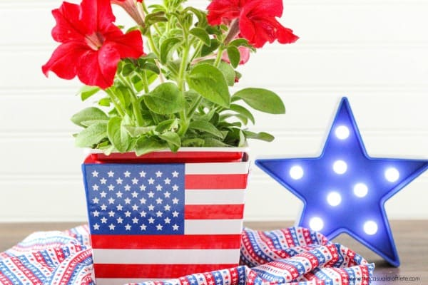 Patriotic Flower Arrangement Idea using American flag bucket from Target dollar spot