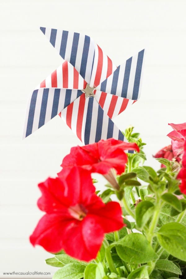 Patriotic Red, White and Blue Floral Arrangement with Pinwheel