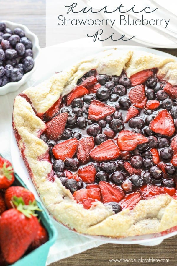 Rustic Strawberry Blueberry Pie - easy to make tart with fresh berries.  Perfect for the Fourth Of July