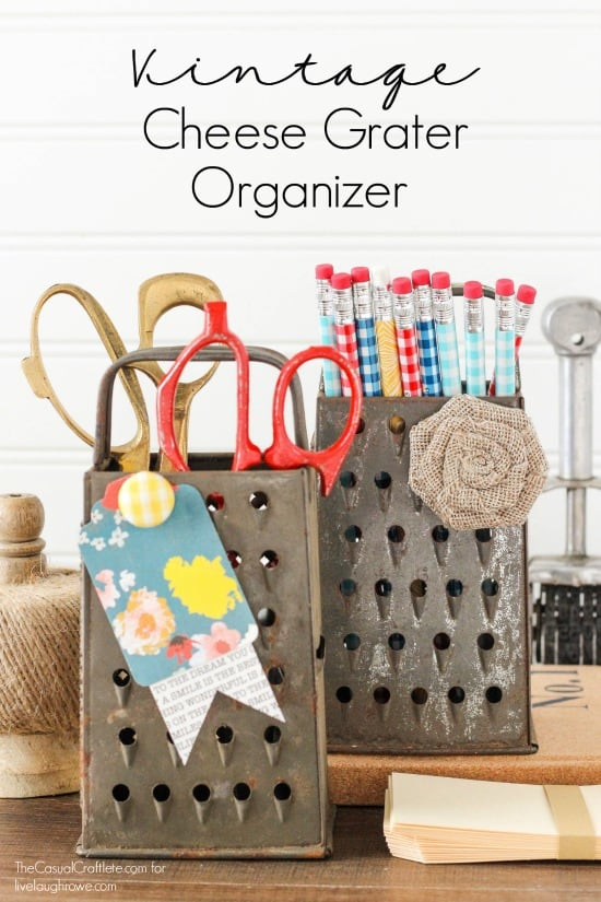 Vintage Cheese Grater Organizer and Magnetic Memo Board - turn a metal cheese grater into storage for office supplies