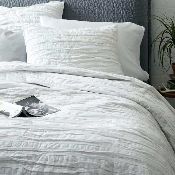 White Frayed Edged Quilt from West Elm - perfect for summer