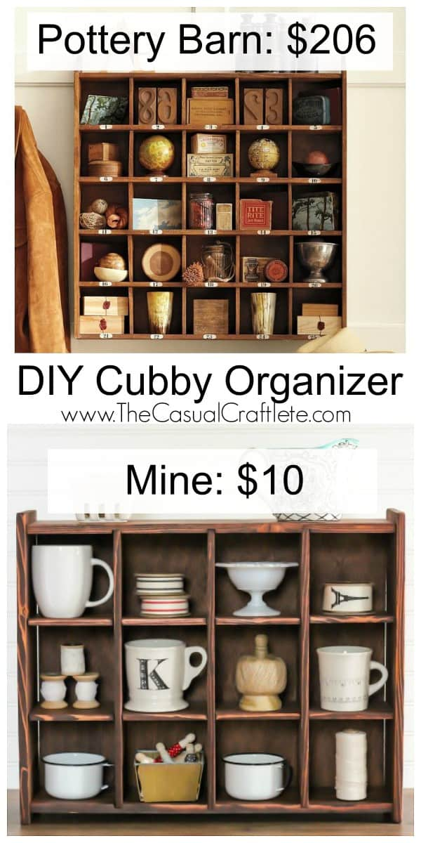 Pottery Barn Inspired DIY Cubby Organizer by www.TheCasualCraftlete.com